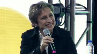 Carmen Aristegui durante el Festival 100 Mujeres