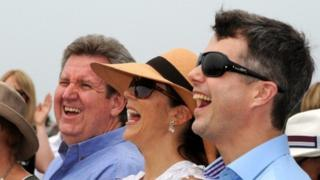 Denmark's Princess Mary (second right) and her husband Crown Prince Frederik (right)