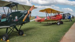Vintage aircraft after they landed at Baragwanath airfield in South Africa as part of the Vintage Air Rally airshow (12 December 2016)