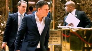 Peter Thiel leaving Trump Tower in New York