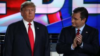 Republican presidential candidates Donald Trump (L) and Sen. Ted Cruz (R-TX) participate in the CNN republican presidential debate at The Venetian Las Vegas