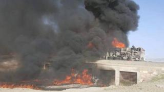 Scene of a crash involving two buses and a fuel tanker in Afghanistan - 8 May 2016
