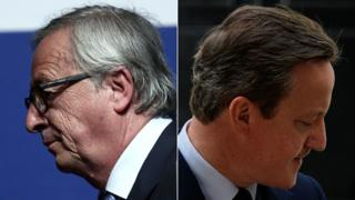Composite showing European Commission head Jean-Claude Juncker (left) and David Cameron (right) looking in opposite directions