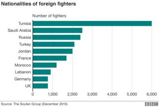 Chart showing nationalities of foreign fighters