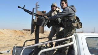Syrian government forces on the eastern outskirts of Homs on February 7, 2017
