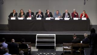 Hillsborough Independent Panel members (from left to right) Raju Bhatt, Sarah Tyacke, Paul Leighton CBE, Peter Sissons, Bishop of Liverpool The Right Reverend James Jones (Chairman),Professor Phil Scraton, Dr Bill Kirkup CBE, Christine Gifford and Katy Jones answer questions at a press conference at the Liverpool's Anglican Cathedral after the release of previously unpublished papers relating to the Hillsborough disaster.