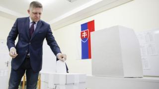 Slovak Prime Minister Robert Fico votes in Bratislava, 5 March