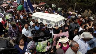Friends and supporters carry the coffin of slain environmental rights activist Berta Caceres along a street during her funeral in the town of La Esperanza, outside Tegucigalpa