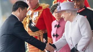 Queen Elizabeth and Chinese President Xi Jinping