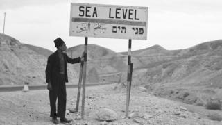 A sign near the Dead Sea showing the recognised sea level - 1 December 1936