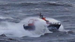 Lifeboat at sea during Storm Angus