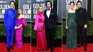 Sacha Baron Cohen with Isla Fisher, Adam Driver with Joanne Tucker and Kit Harington with Rose Leslie