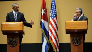 """U.S. President Barack Obama and Cuban President Raul Castro attends a news conference as part of Obama""""s three-day visit to Cuba, in Havana March 21, 2016."""
