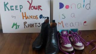 Placards for the women's march and shoes