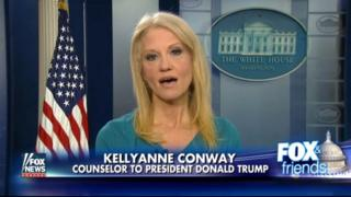 This frame grab from video provided by Fox News shows White House adviser Kellyanne during her interview with Fox News Fox and Friends, Thursday, Feb. 9, 2017