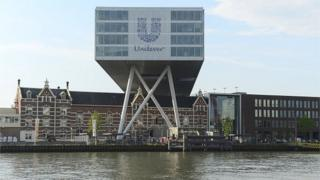 he logo of Unilever at the headquarters in Rotterdam