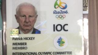 Patrick Hickey's IOC badge at the police press conference (17 August 2016)