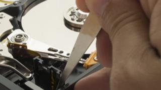 A hard disk being repaired