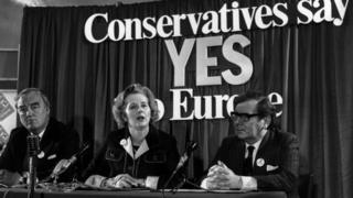"""Margaret Thatcher campaigning for """"in"""" during the 1975 European referendum"""
