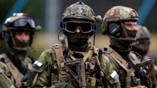 Members of Poland's special commando unit Lubliniec during a Nato tactical exercise at the land forces training centre in Oleszno