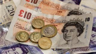 British bank notes and coins