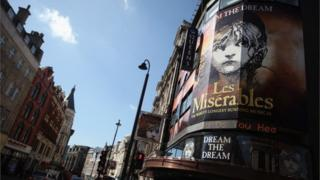 MARCH 19: A sign advertising a musical 'Les Miserables' on Shaftesbury Avenue in the West End on March 19, 2012 in London, England.