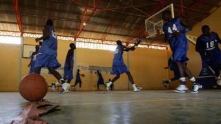 Senegalese basketball players attend a training session