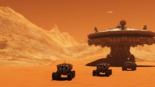 Ilustração de estação em Marte