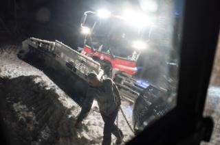 A member of the ski tracks maintenance team