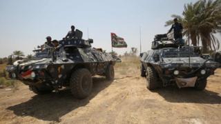 Iraqi security forces in in Khalidiya, east of Ramadi, on 1 August 2016