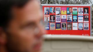 Mark Rutte y los carteles electorales en Holanda