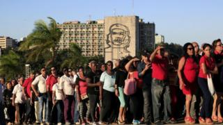 People queue to pay tribute to Castro at Revolution Square in Havana