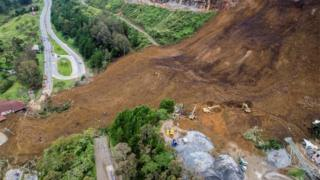 General view of a landslide that affected the Medellin-Bogota highway in Colombia October 26, 2016. Courtesy of EL Colombiano Newspaper/Handout via Reuters.