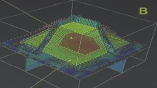 Un mapa en 3D que muestra la estructura oculta dentro de una pirámide maya