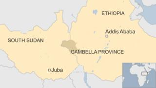 A map showing Gambella province in west Ethiopia