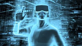 3D render of man wearing virtual reality glasses surrounded by virtual <a href=