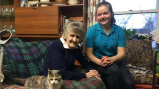 Jessy and her carer and her cat