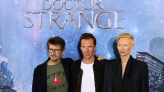 Scott Derrickson with Benedict Cumberbatch and Tilda Swinton