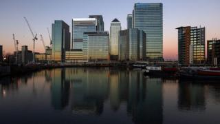 The offices of global financial institutions at Canary Wharf