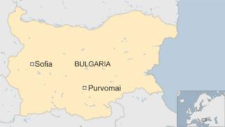 map of Bulgaria showing Purvomai