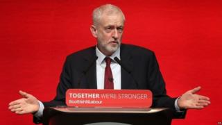 Jeremy Corbyn speaking at Scottish Labour conference