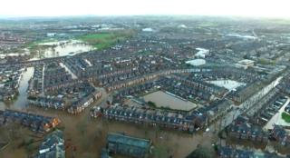 An image taken from a police helicopter showing the extent of flooding in Carlisle - 7 December 2015