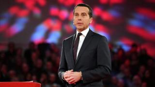 Austrian chancellor Christian Kern delivers a speech on the future of Austria in Wels, Upper Austria, on 11 January