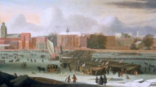 A Frost Fair on the Thames at Temple Stairs, c1684