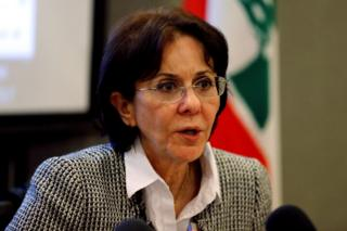 UN Under Secretary General Rima Khalaf speaks during a news conference in Beirut, Lebanon, 15 March