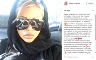 Candy Charms' Instagram post showing wearing a hijab
