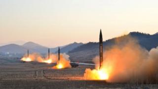 Ballistic rocket launching drill of North Korea's Hwasong artillery units - file photo