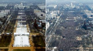 Aerial shots of Trump and Obama events
