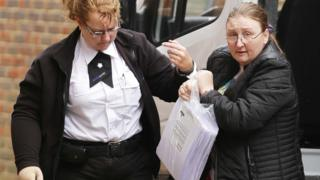 Lesley Dunford arriving at Lewes Crown Court on 29 January