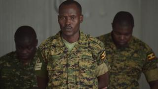 Three of the Ugandan soldiers who were jailed - 15 August 2016